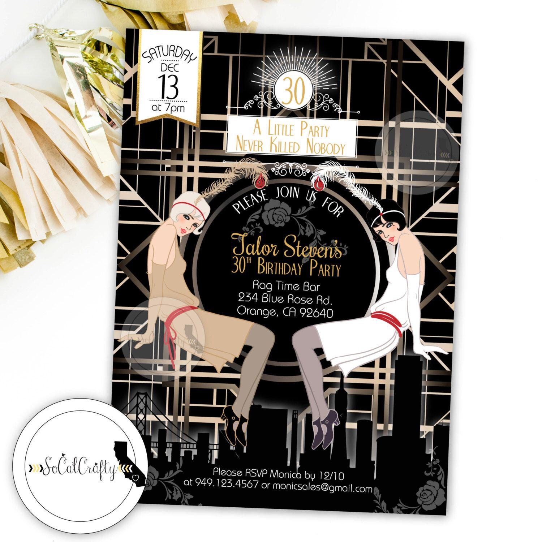 Great Gatsby Birthday Party Invitation, Roaring 20\'s, Bridal Shower ...