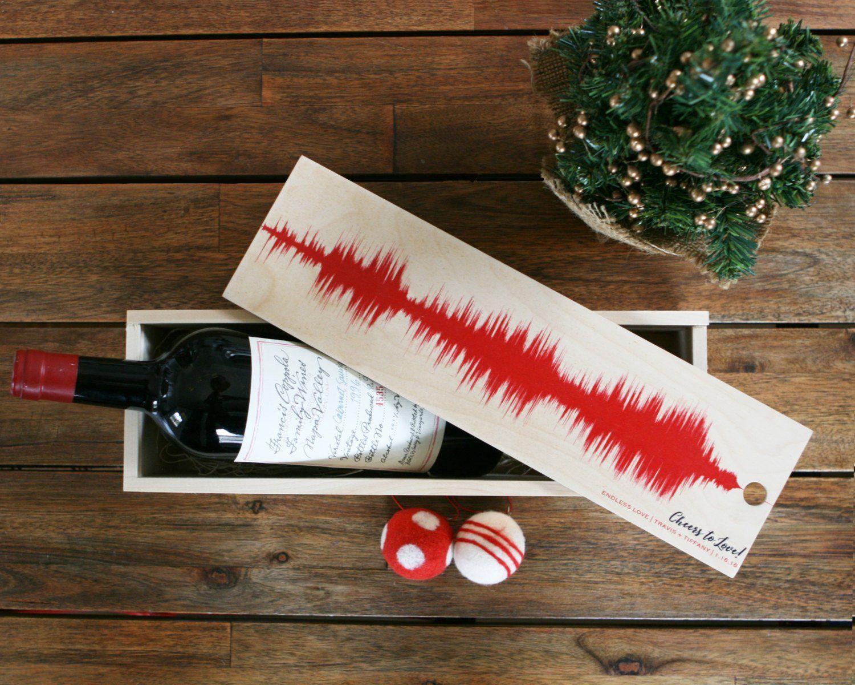 Wood Wine Box Wine Lover Gift Custom Song Sound Wave Art Etsy Wood Wine Box Christmas Gifts For Wine Lovers Gifts For Wine Lovers