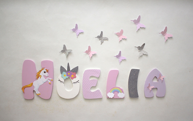 Baby Nursery Wall Hanging porte plaque Enfants Nom Signe En Bois Lettres