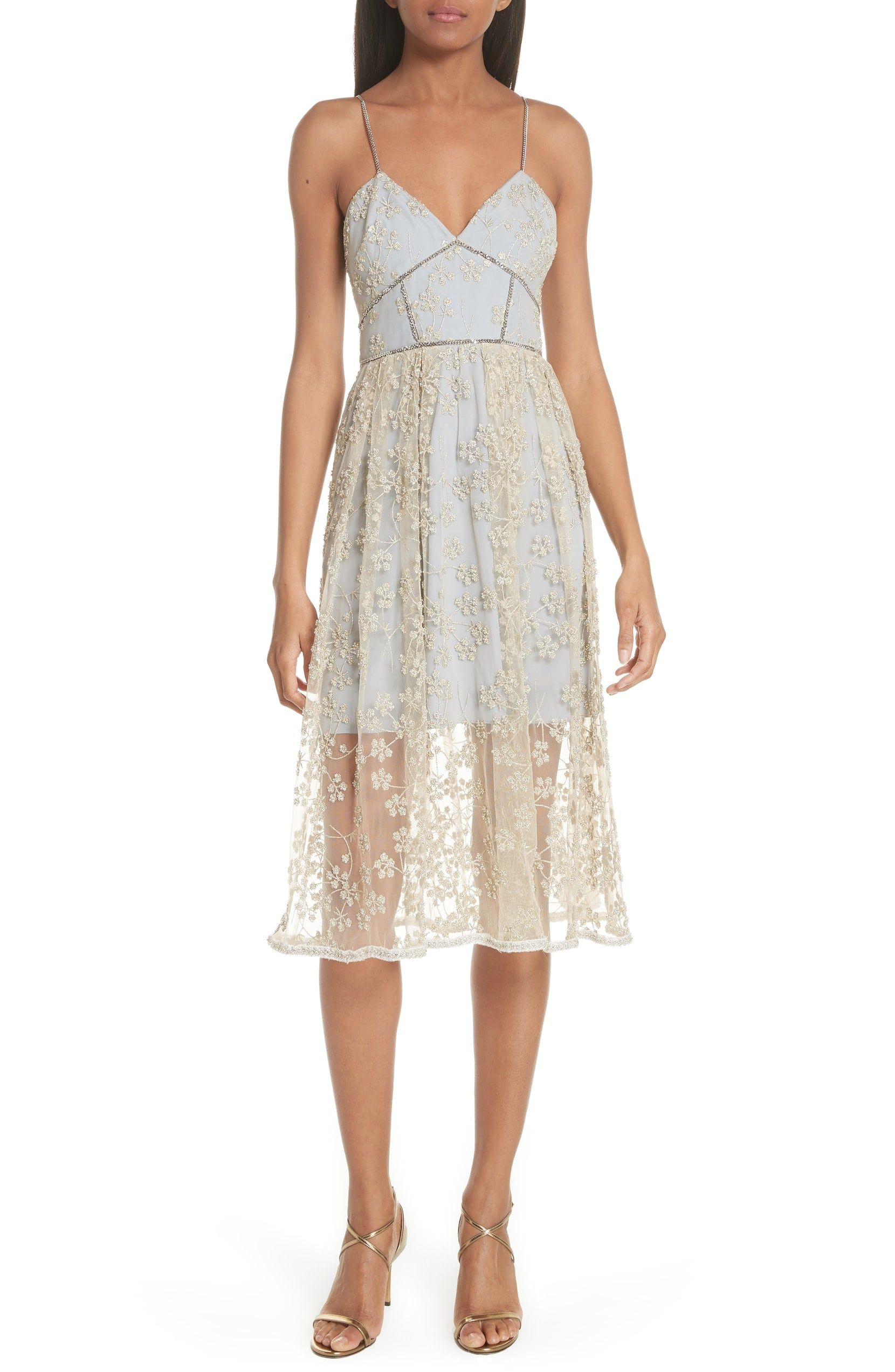 20bf8e36b511 Metallic Floral Embroidery Chain Strap Dress $520 from SHOP.NORDSTROM.COM