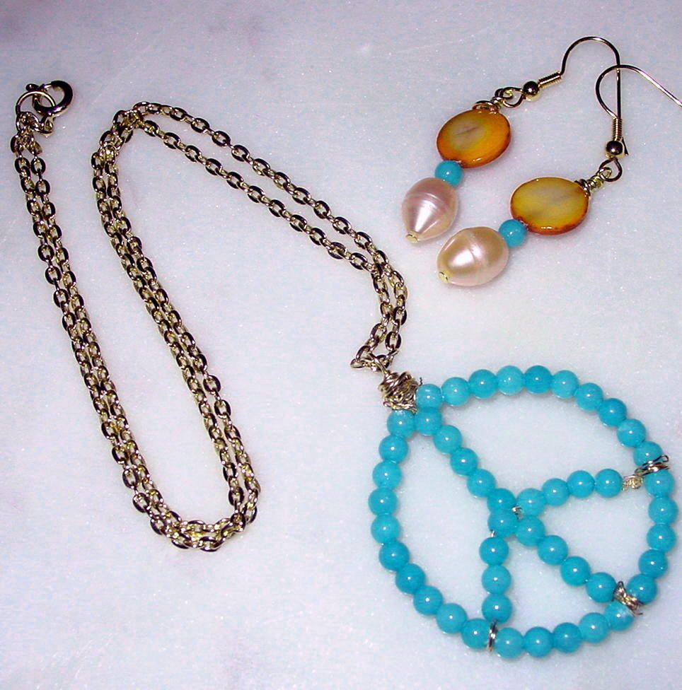 Turquoise Beads Peace Sign Pendant and Earrings (sold, 2010) For a duplicate convo me at bordeauxlanestudio.etsy.com