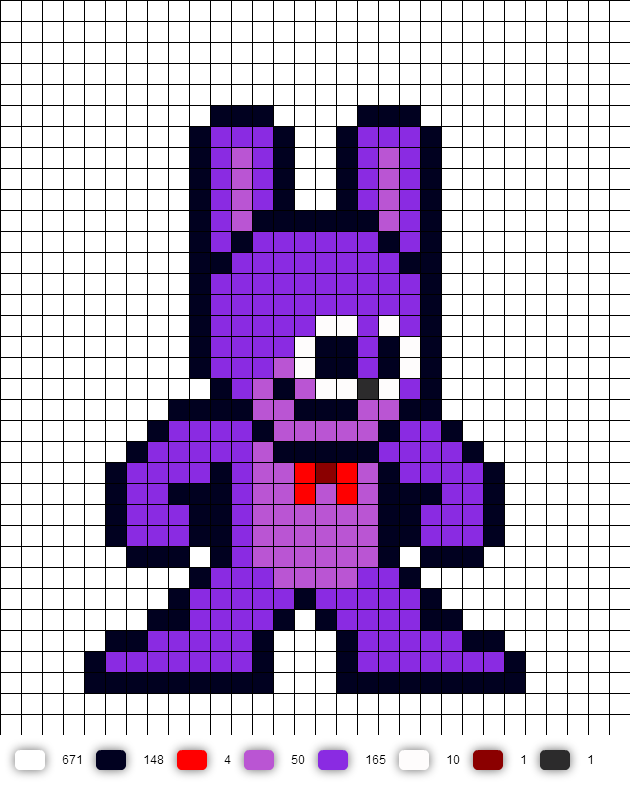 Bonnie the bunny Perler Bead Pattern (Five Nights at
