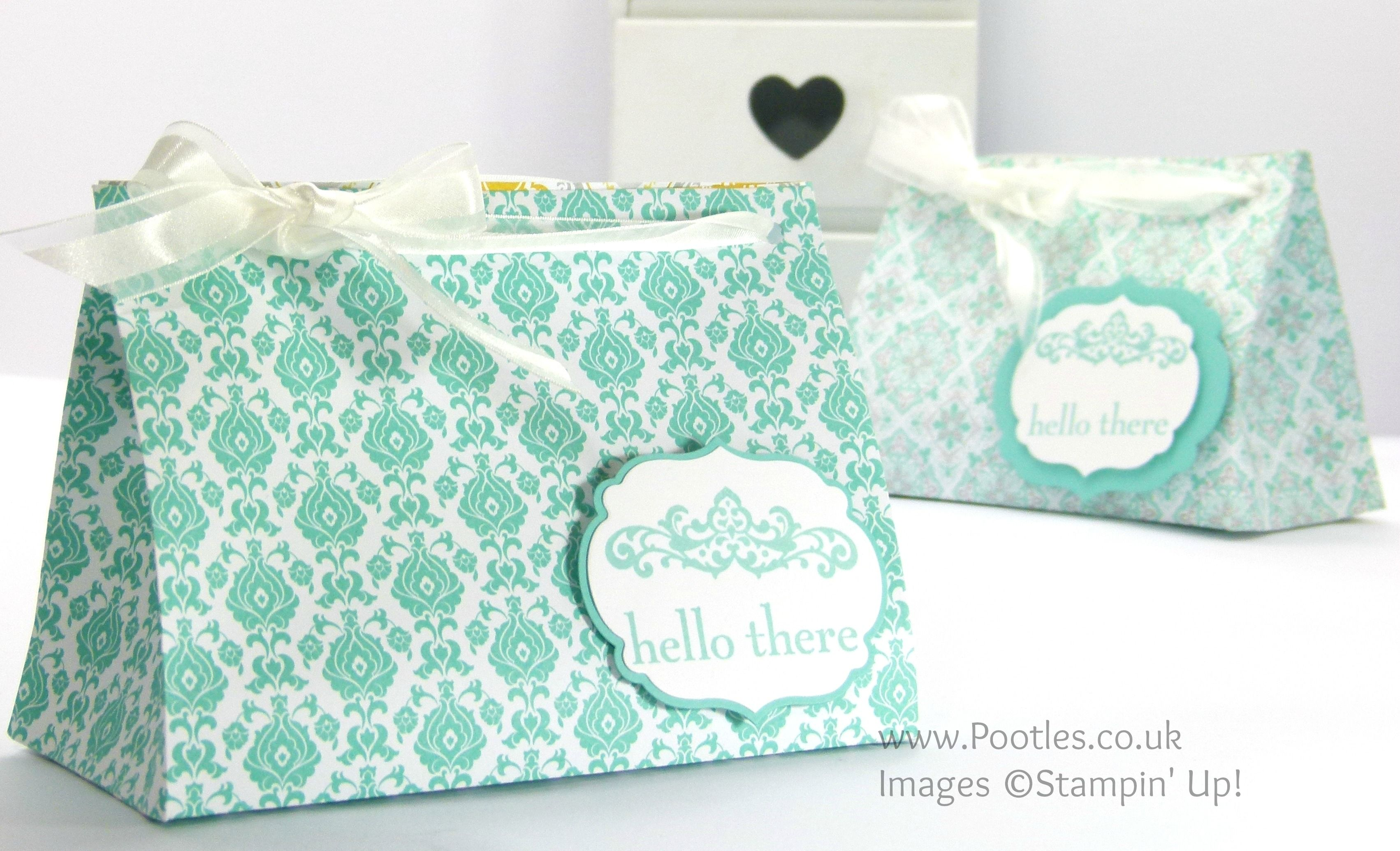 Wide Fat Bag using Stampin' Up! UK Eastern Elegance DSP