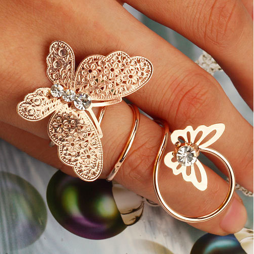 Butterfly ring Cz diamond jewelry, Rose gold