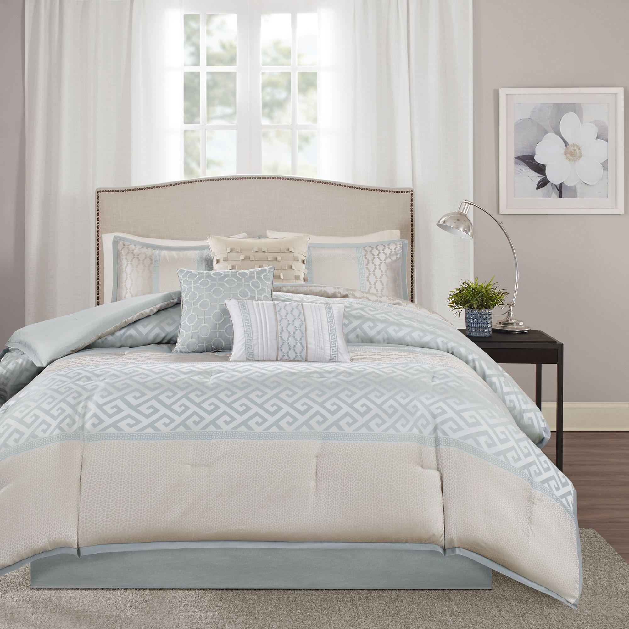 Madison Park Chandler 7 Piece Comforter Set (Quen Aqua), Green