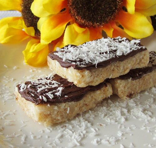 GF and Vegan Chocolate-Dipped Coconut Crispy Bars