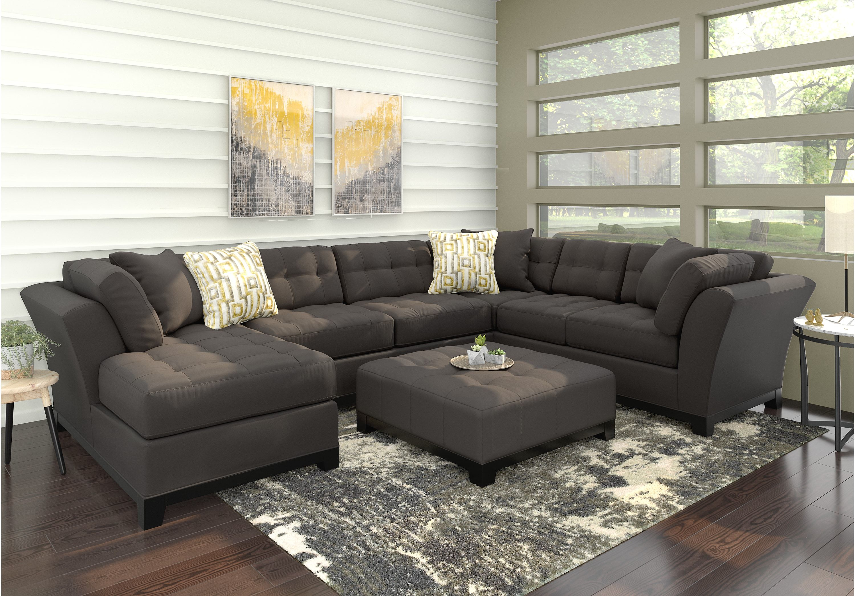 Cindy Crawford Home Metropolis Slate 3 Pc Sectional Sectionals
