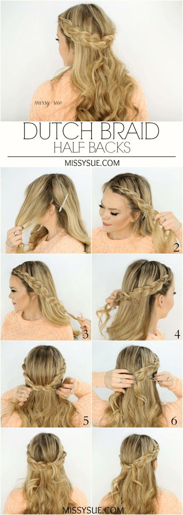 dutch braid half backs | frisuren flechten | ヘアスタイル, 髪型