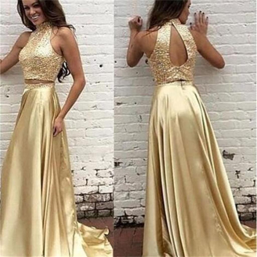 pieces high neck open back shinning gold evening long prom dress