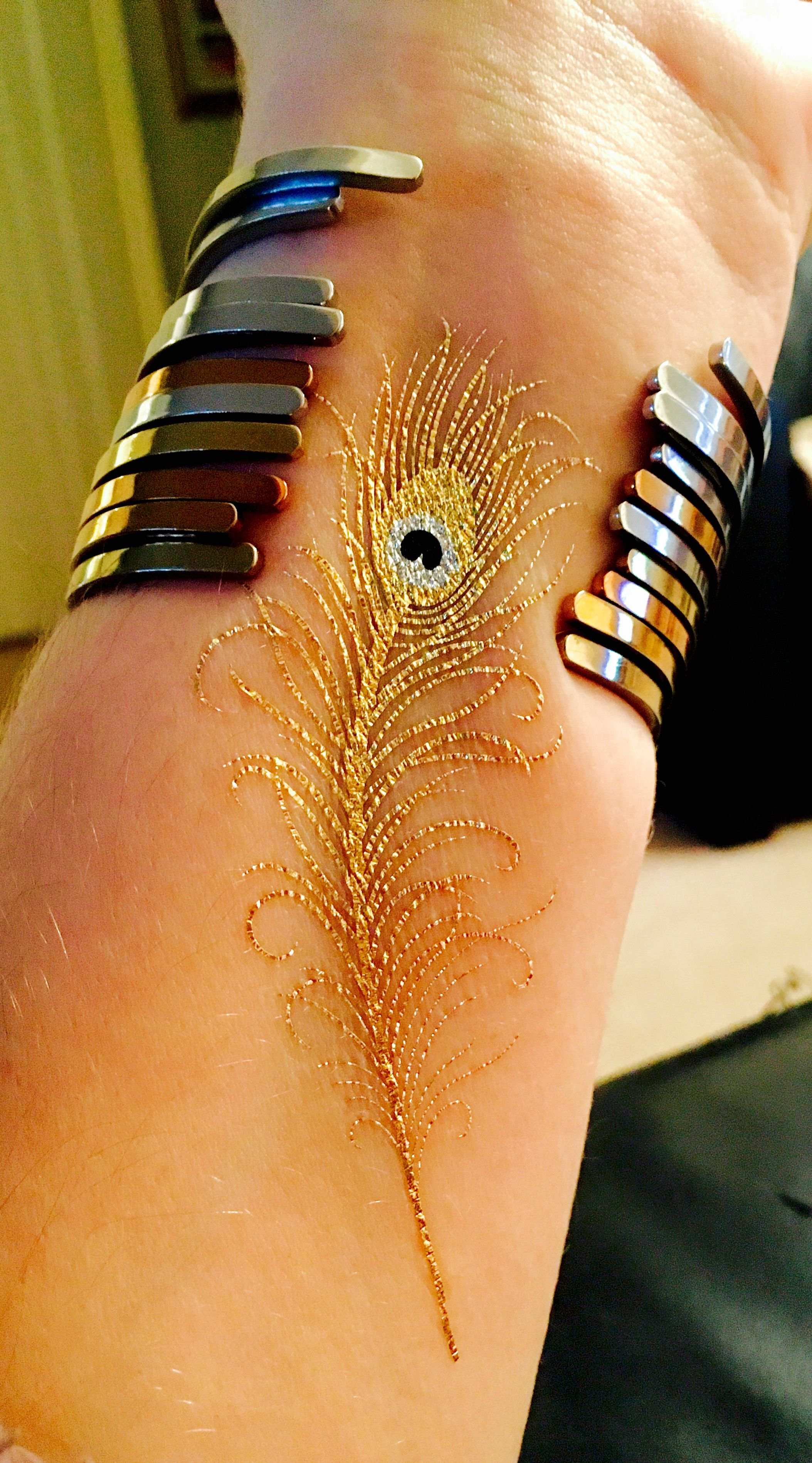 Gold Peacock Feather Tattoo Wrist Tattoo Tattos Pinterest