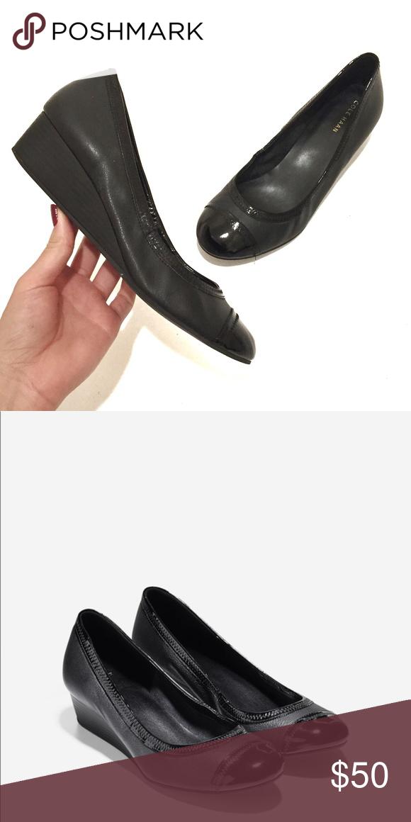 3ddac2f76c17 EUC Cole Haan ELSIE Cap Toe Black Leather Wedge Cole Haan ELSIE Wedge Size   8B