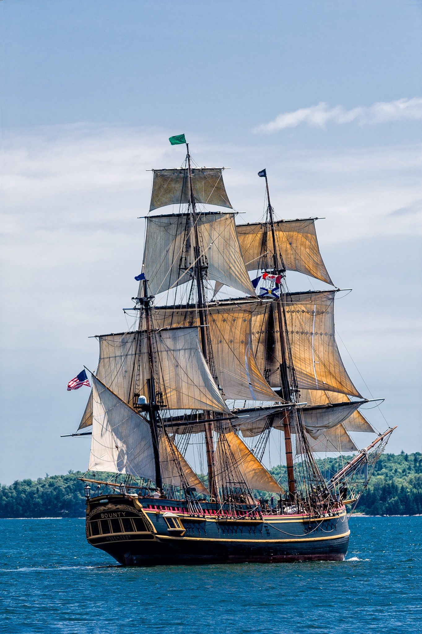 tall ship bounty leaving halifax harbour during the parade. Black Bedroom Furniture Sets. Home Design Ideas