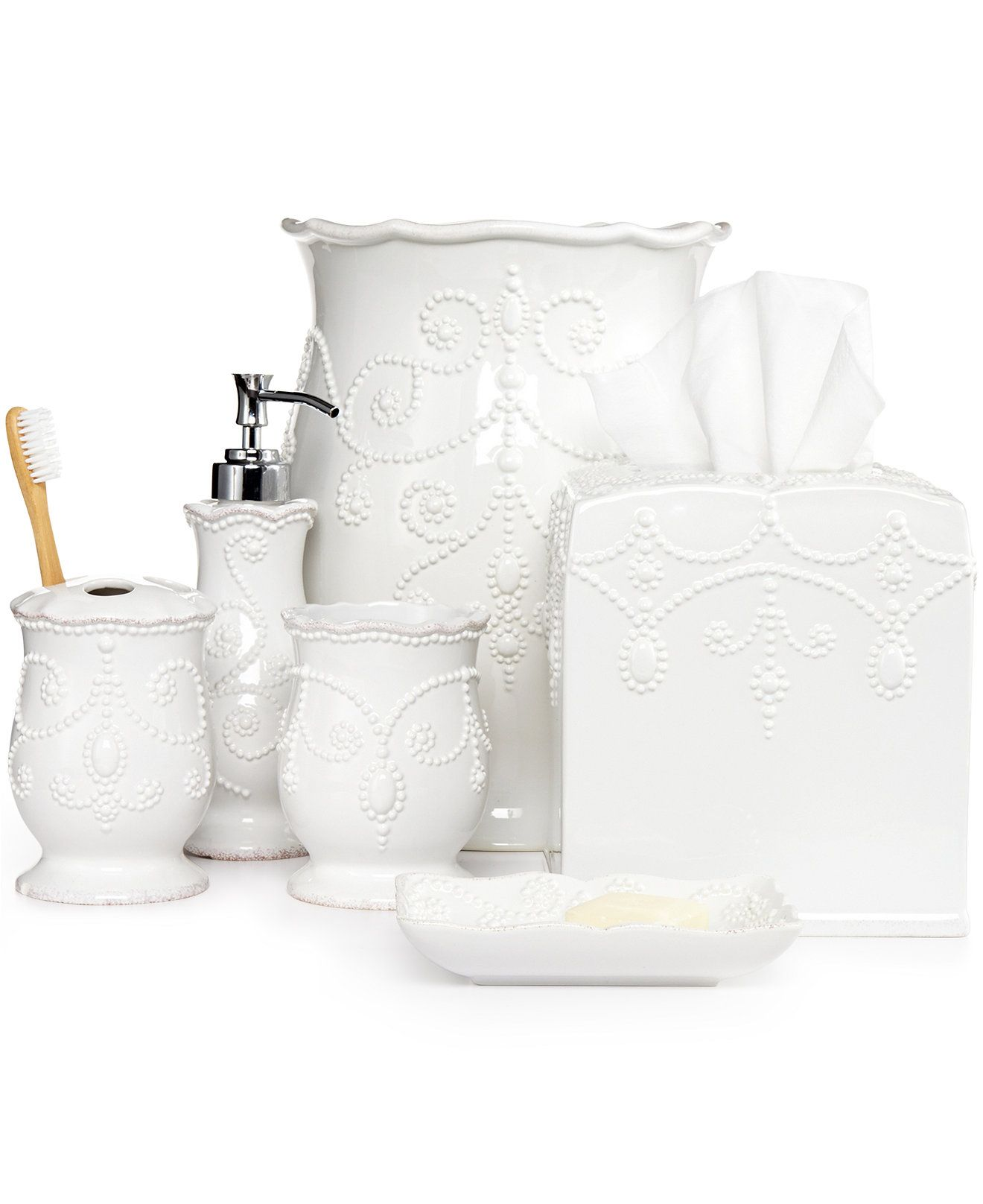Lenox Bath Accessories French Perle Collection Bathroom Bed Sets