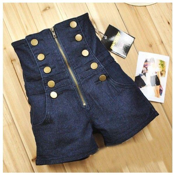 Double Breasted Zipper High Waist Shorts Deep Blue via Polyvore