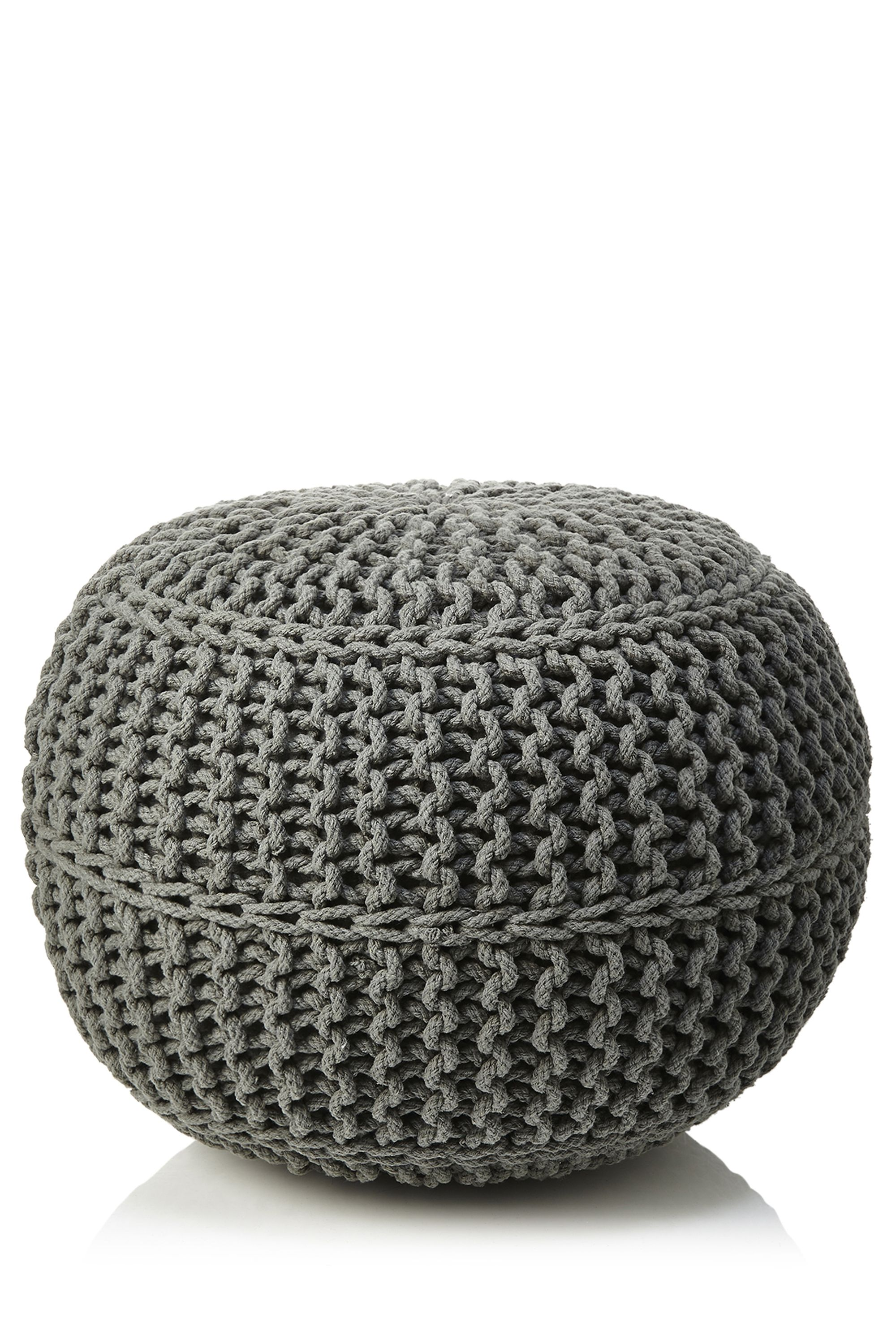 Knitted Pouffe, Grey | Rugs & Pouffes | Home Furnishings | Homeware | Categories | BHS