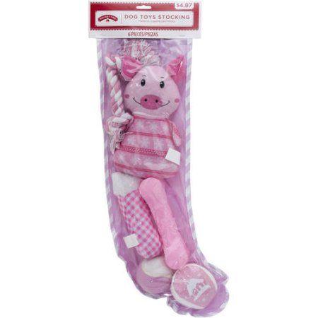 Holiday Dog Toys Stocking, Pink
