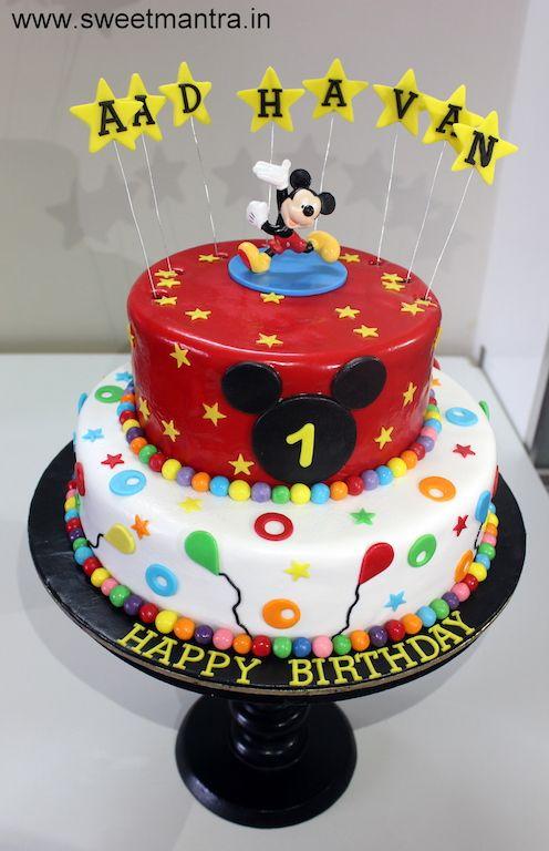 Disney Mickey Mouse Theme 2 Layer Designer Fondant Cake For Boy S 1st Birthday At Wakad Pune Mickey Cakes Mickey Mouse Cake Christmas Cake