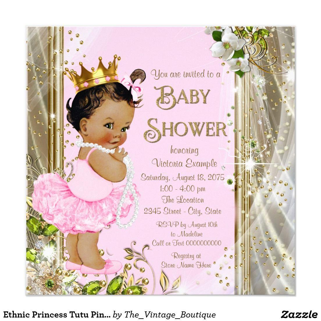 Ethnic Princess Tutu Pink Gold Baby Shower Invitation | Gold baby ...
