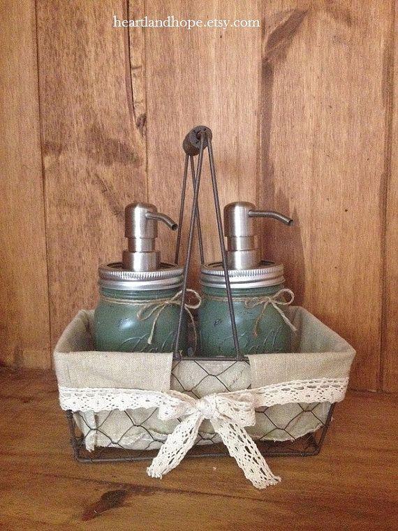 THREE 3 Piece Mason Jar Set with Basket  Caddy by HeartlandHope