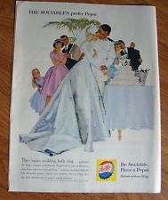 1960 Pepsi Cola Ad Wedding Bells Ring Bride Groom Cutting the Cake
