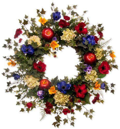 "Apple, Cosmos & Ranunculus Wreath (20"" Wreath)"