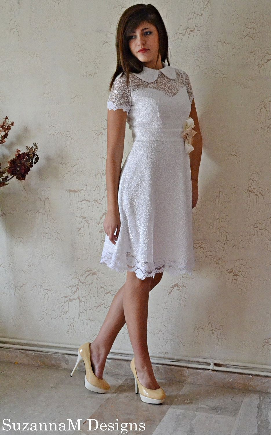 50s White Wedding Dress / Two Lace Gown - Handmade  Tea Dress  by SuzannaM Designs ___ Just get rid of that flower!!!