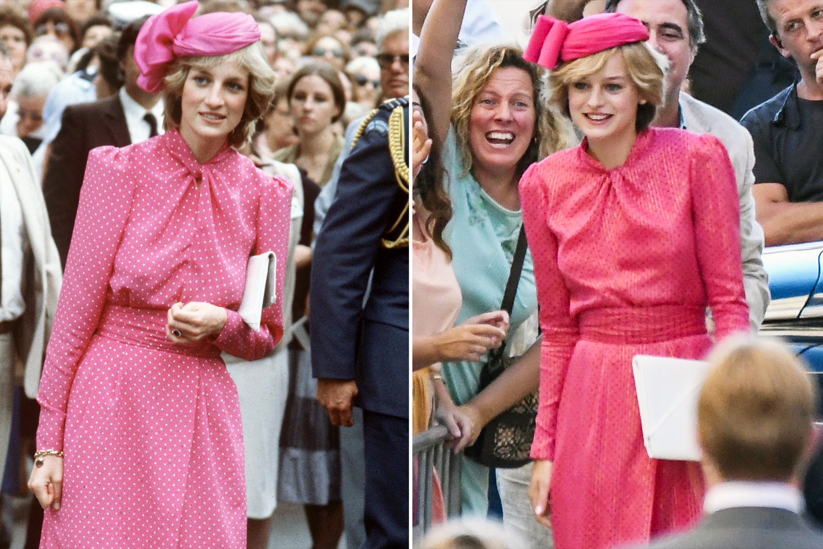 Royal Double Take Emma Corrin Channels Princess Diana In Pink Polka Dots On Set Of The Crown Princess Diana Princess Diana Pictures The Crown Season