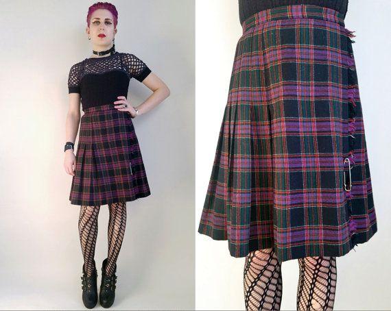 d915d5176 80s Clothing Plaid Skirt Vintage Givenchy 80s Givenchy Pleated Kilt ...