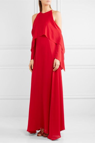 Rosetta Getty Woman Cold-shoulder Draped Silk-georgette Gown Red Size 4 Rosetta Getty Buy Cheap Factory Outlet K4UXiYyJ