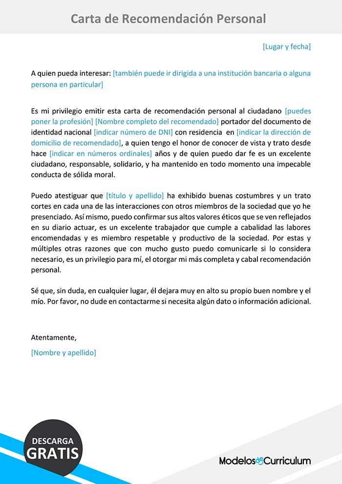 Trabajo Personal Trabajo Formato De Carta De Recomendacion Ejemplo De Carta De Recomendacion Personal Formato Word