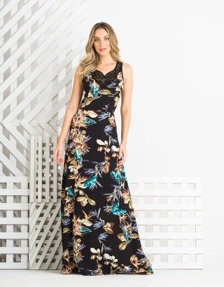 35ebcc354d Vestido-Longo-Florido-Decote-Zinzane-012308-01 Comprar Roupas Femininas