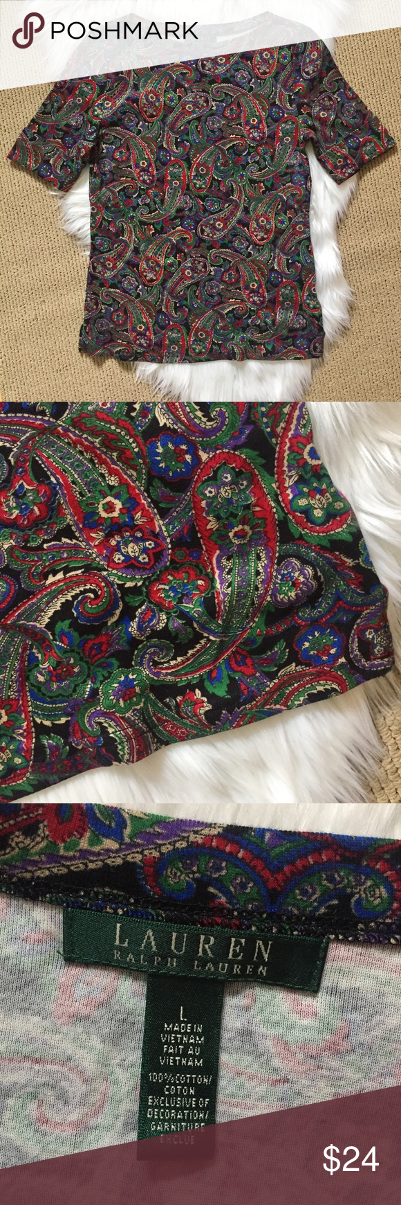 "Ralph Lauren Paisley Top Paisley print tee with shorter 3/4 cuffed sleeves and a slight boat neck. Classic fit and style! Green, black, red, blue, beige, and purple▪️Size Large (fitted) 17.5"" armpit to armpit flat across and 25"" shoulder to hem. ▪️100% cotton. In great condition- never worn! Lauren Ralph Lauren Tops Tees - Short Sleeve"