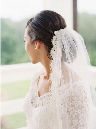 Veil In Low Bun Veil Hairstyles Fall Wedding Hairstyles Wedding Hairstyles With Veil