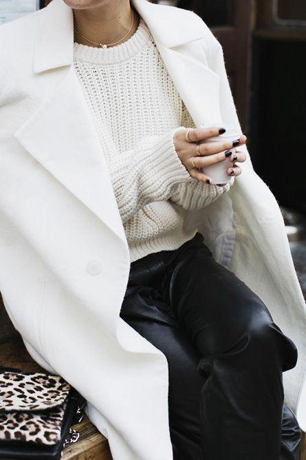 white coat, white knit black jeans