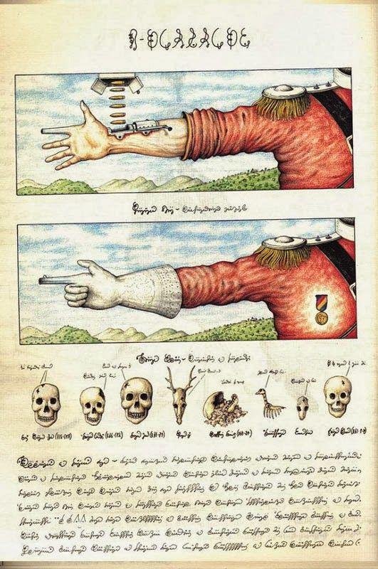 Enciclopédia de 380 páginas em uma língua que ninguém conhece descreve mundo paralelo ~ Ovelhas Voadoras