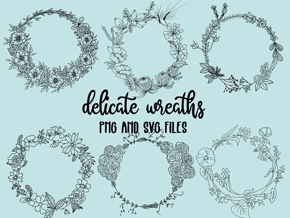 Photo of FLORAL WREATHS, hand-drawn wreaths, doodle clipart, rustic, drawn wreaths, png, svg, vector wreaths, wedding, laurels, cute wreaths, wreaths