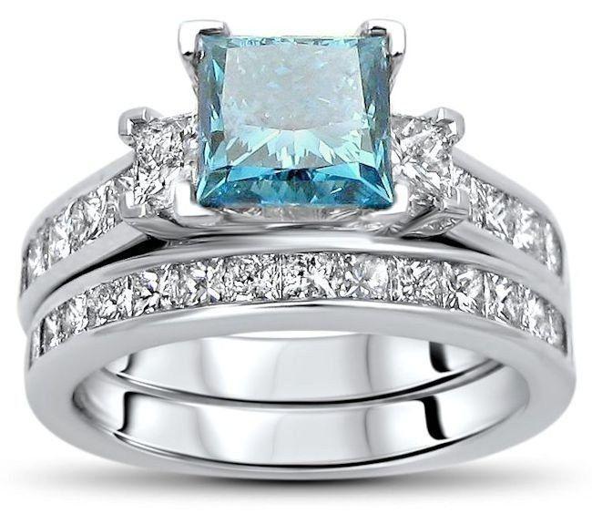 2.75ct Blue 3 Stone Princess Cut Diamond Engagement Ring Bridal Set 14k White