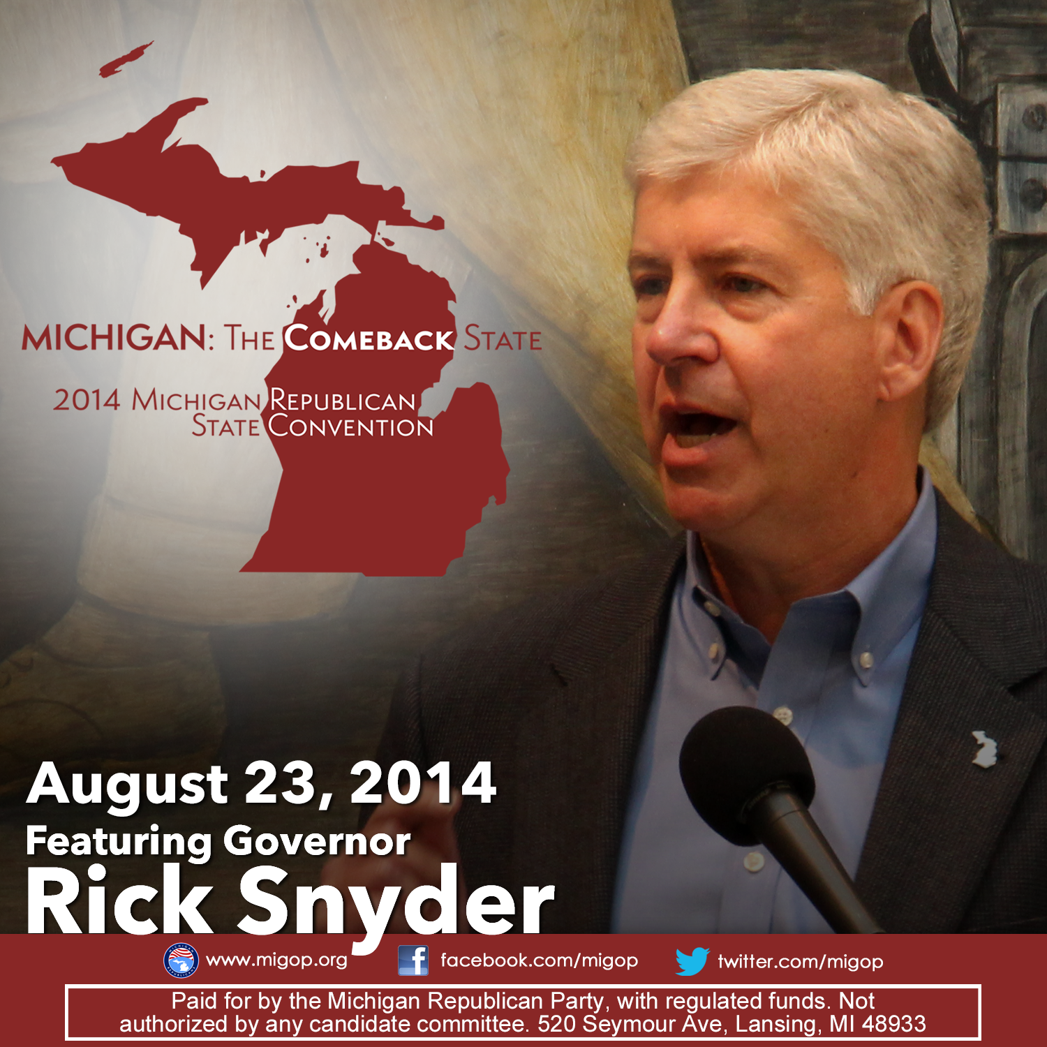 Pin By Michigan Republican Party On Announcements Republican States Rick Snyder Michigan