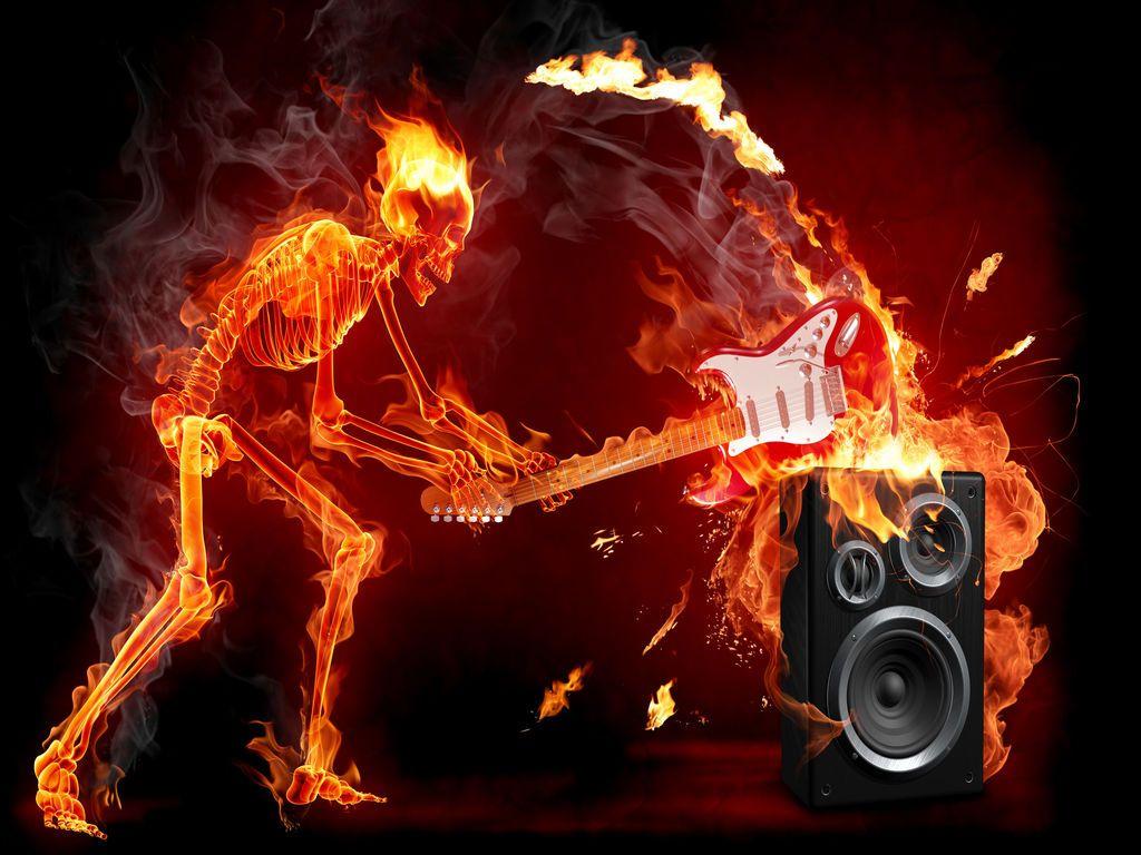 Free Skelet On Fire Smashing Guitar On