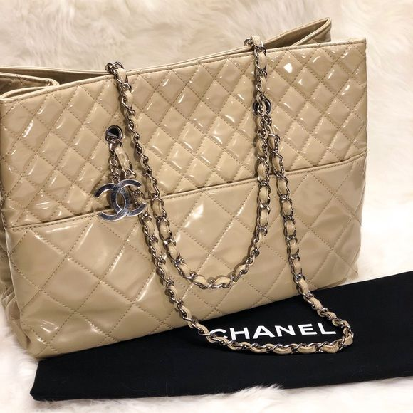 dddae60e0dcd CHANEL Handbags - Chanel In The Business Beige Patent Leather Tote ...