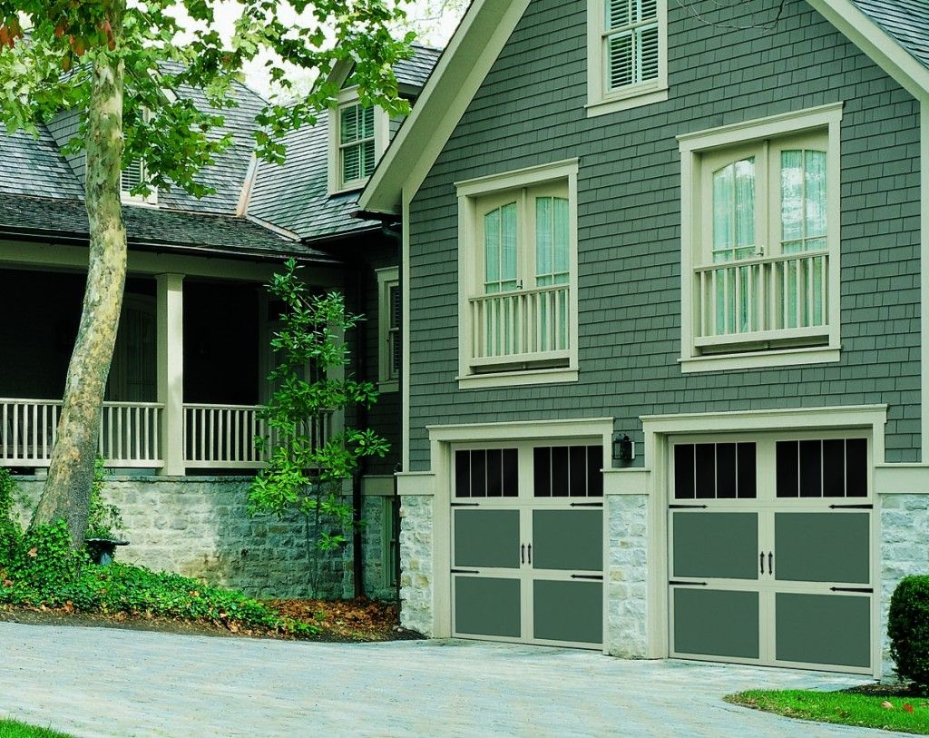 Green Garage Door With Tan Trim Painted Garage Doors