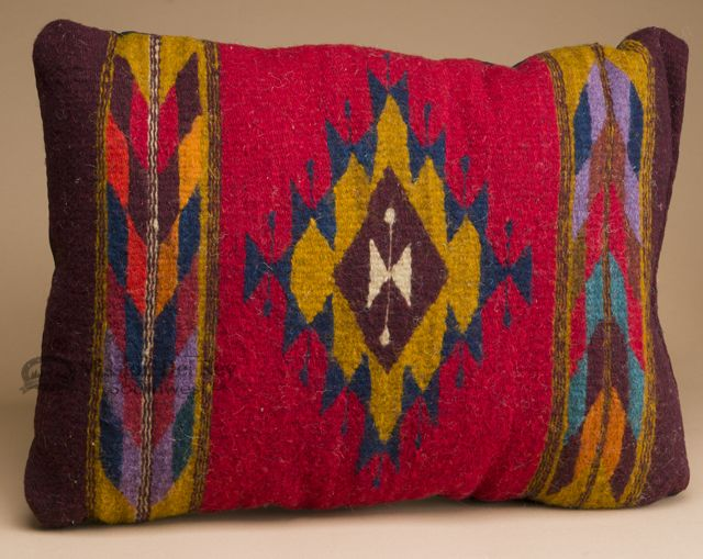 Woven Wool Zapotec Indian Pillow 12x16 T Indian