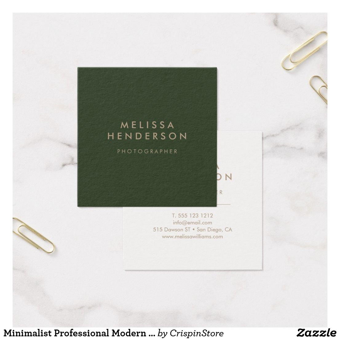 Minimalist Professional Modern Green Square Business Card Business