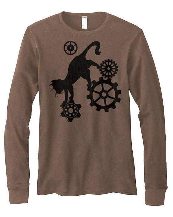 Steampunk Cat Sweater long sleeve cat shirt fantasy kawaii clothing mens t-shirt cute cat gift kitten steampunk clothes hipster plus size 6tQMH7