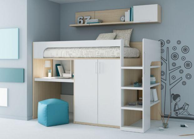 Juvenil Cama alta con armario, cajones y despacho integrado. Ref ...