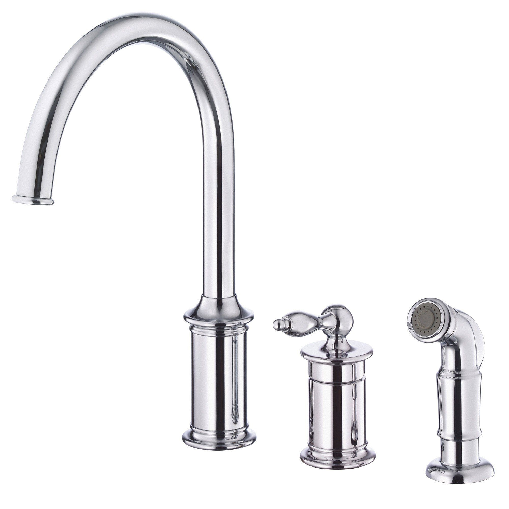 Captivating Danze Prince Chrome Single Handle 3 Hole Widespread Kitchen Faucet With  Sprayer