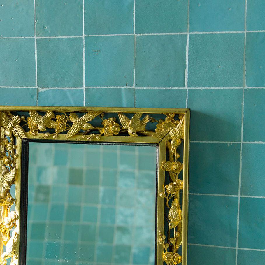 Azuur blauwe Marokkaanse tegels in de badkamer   Pools   Pinterest