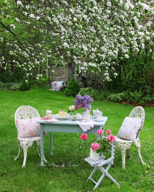 Apple Blossom Tea (Aiken House & Gardens) is part of garden Seating Tea Time - Hello everyone, On a beautiful late spring day ( a couple of days ago) when the old apple tree was in full bloom I thought it would
