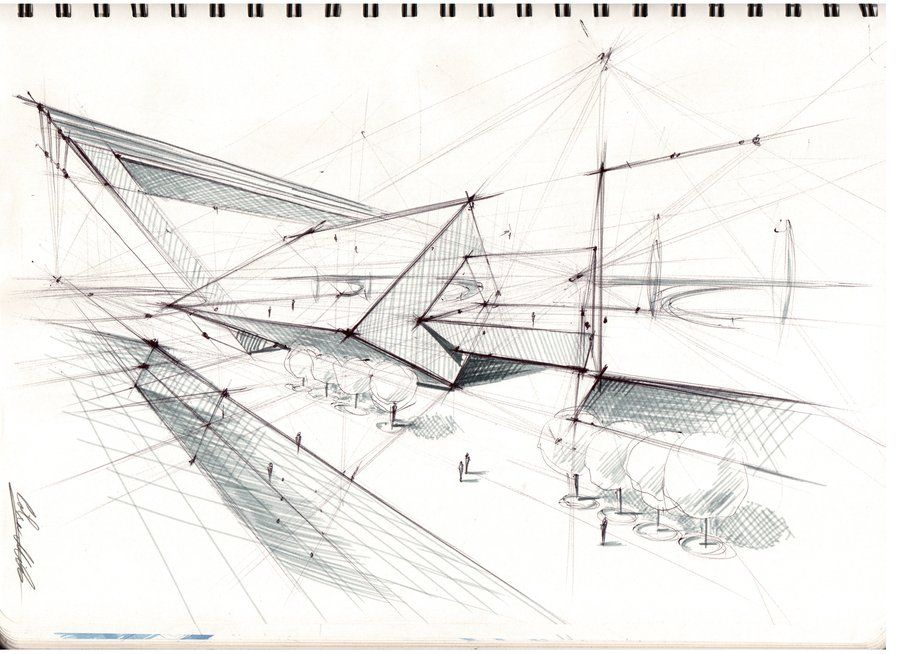 One Pen And Marker Architectural Sketch 1