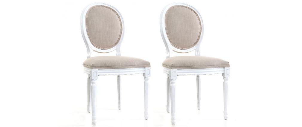 Lot De 2 Chaises Baroque Louis Xvi Blanc Medaillon Salle A Manger
